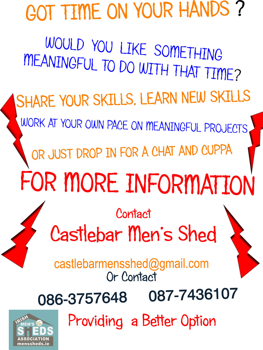 castlebar men Castlebar men's shed, castlebar 694 likes we are a non-profit organisation our main aim is to promote and protect the well-being of men in our.
