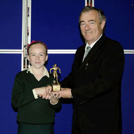 Ken Wright photographed Ioseph McGowan, Principal Davitt College making a presentation to Maria Staunton girls indoor soccer player of the year. Click on photo for lots more awards from Davitt College College.