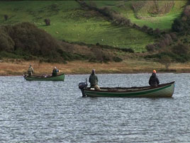 Anglers competing on Ballin Lough as the trout angling season draws towards its end for 2009. Click on photo for all the latest angling news.