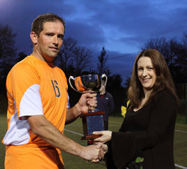 Sharon Kelleher presents the Oliver Kelleher Masters Cup to Stephen Barrett. Click above for more from Michael Donnelly
