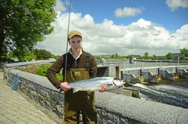 Aidan Twomey with a fine 15-lb spring salmon at the Galway Fishery - click on photo for more fishing news from Mayo/Galway