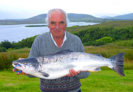 Anthony J. Barrett, Bangor Erris with his Record Salmon of 17.13 lbs. from the Owenmore River. Click on photo for more local angling news.