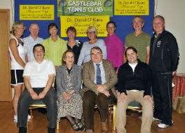 Castlebar Tennis Club, Dr. David O'Kane memorial Cup sponsored by the Connaught Telegraph in aid of cystic fibrosis. Click for more from Ken Wright.