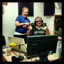 Johnny Oosten & Katie Hughes in studio on their final hour of 24 Hour Radiothon. Click on photo for more.