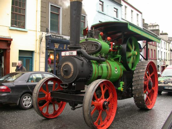 The County Council Steam roller in the Castlebar Patrick's Day Parade
